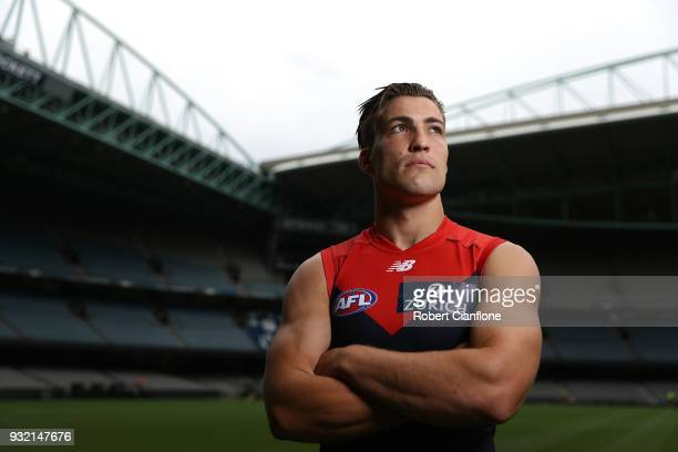 Jack Viney of the Demons poses during the 2018 AFL Captain's Day at Etihad Stadium on March 15 2018 in Melbourne Australia