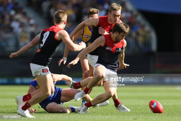 Jack Viney of the Demons runs onto the ball during the AFL Preliminary Final match between the West Coast Eagles and the Melbourne Demons on...
