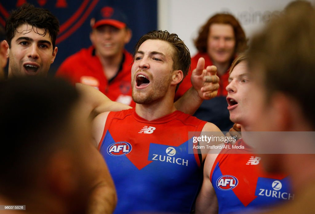 Jack Viney of the Demons sings the team song during the 2018 AFL round nine match between the Carlton Blues and the Melbourne Demons at the Melbourne Cricket Ground on May 20, 2018 in Melbourne, Australia.
