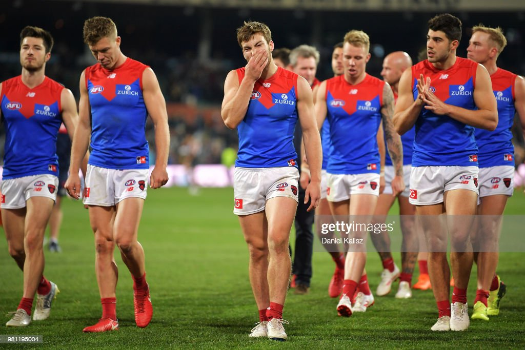 Jack Viney of the Demons walks from the field looking dejected after the round 14 AFL match between the Port Adelaide Power and the Melbourne Demons at Adelaide Oval on June 22, 2018 in Adelaide, Australia.
