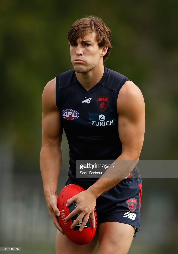 Jack Viney runs with the ball during a Melbourne Demons AFL training session at Gosch's Paddock on February 21, 2018 in Melbourne, Australia.