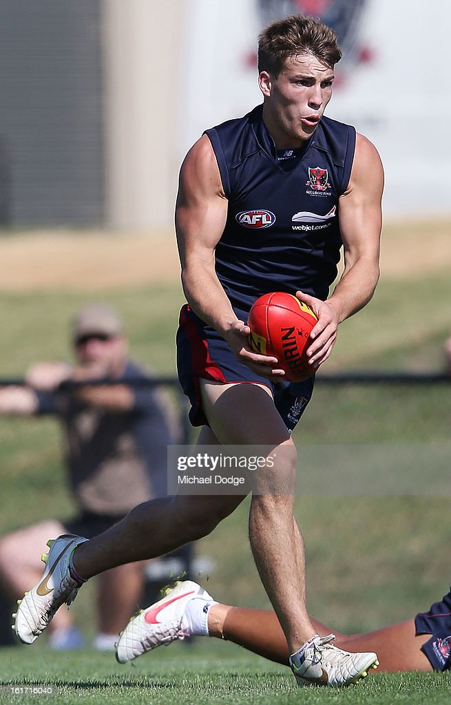Jack Viney runs with the ball during a Melbourne Demons intra-club match session at Casey Fields on February 15, 2013 in Melbourne, Australia.