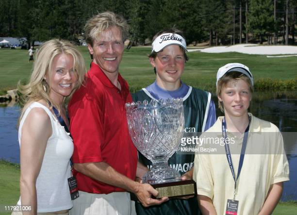 Jack Wagner and family during American Century Celebrity Golf Championship July 16 2006 at Edgewood Tahoe Golf Course in Lake Tahoe California United...