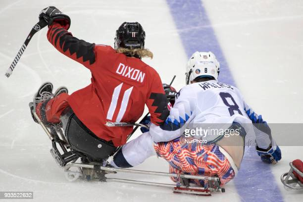 Jack WALLACE and Adam DIXON during The Ice Hockey gold medal game between Canada and United States during day nine of the PyeongChang 2018 Paralympic...