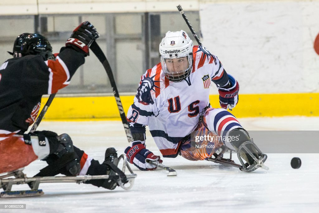 Jack Wallace (USA) during International Para Ice Hockey Tournament of Torino Semifinal match between USA and Japan in Turin, italy, on 26 Januray 2018. Usa team won 9 - 0. This is the last tournament before the Paralympic Games of Pyeongchang 2018 in Korea.