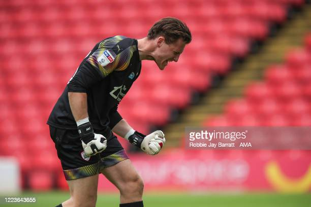 Jack Walton of Barnsley celebrates his teams second goal during the Sky Bet Championship match between Barnsley and Blackburn Rovers at Oakwell...