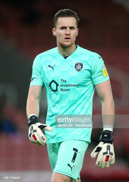 Jack Walton of Barnsley during the Sky Bet Championship match between Stoke City and Barnsley at Bet365 Stadium on October 21 2020 in Stoke on Trent...