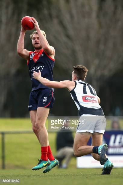 Jack Watts of Casey gathers the ball during the round 16 VFL match between Casey and the Northern Blues at Casey Fields on August 12 2017 in...