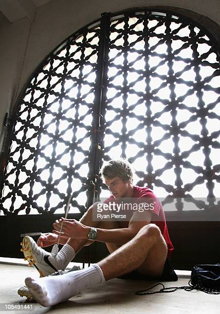 Jack Watts of Melbourne prepares for training at Jiangwan Sports Centre on October 16 2010 in Shanghai China The Melbourne Demons will play the...