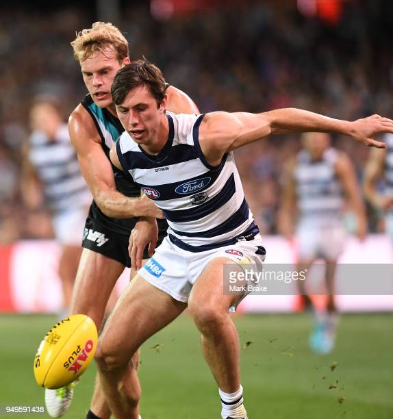 Jack Watts of Port Adelaide and Jack Henry of the Cats during the round five AFL match between the Port Adelaide Power and the Geelong Cats at...