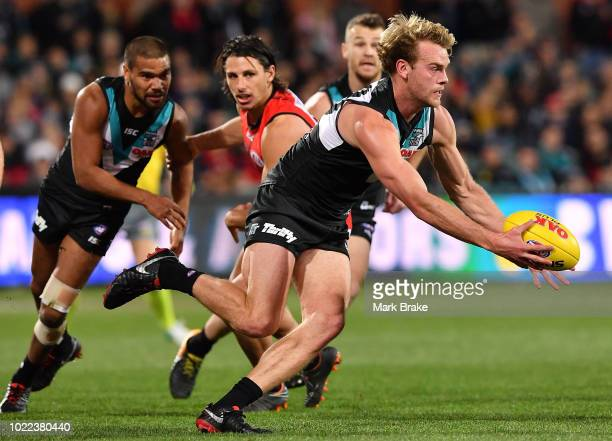 Jack Watts of Port Adelaide during the round 23 AFL match between Port Adelaide Power and the Essendon Bombers at Adelaide Oval on August 24 2018 in...