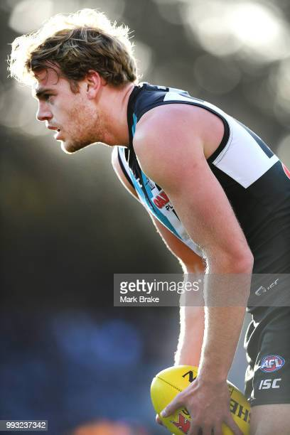 Jack Watts of Port Adelaide lines up and kicks a goal during the round 16 AFL match between the Port Adelaide Power and the St Kilda Saints at...
