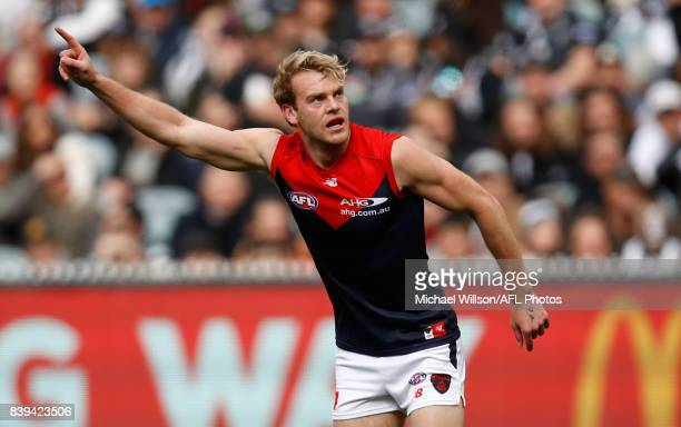 Jack Watts of the Demons celebrates during the 2017 AFL round 23 match between the Collingwood Magpies and the Melbourne Demons at the Melbourne...