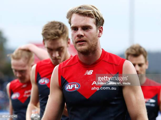 Jack Watts of the Demons looks dejected after a loss during the 2017 AFL round 19 match between the North Melbourne Kangaroos and the Melbourne...