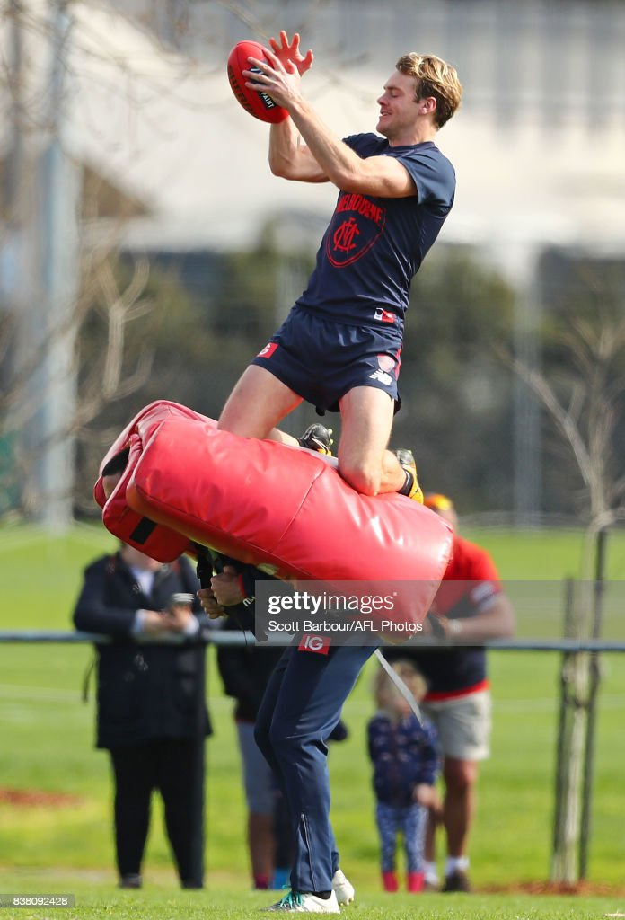 Jack Watts of the Demons marks the ball during a Melbourne Demons AFL training session at Gosch's Paddock on August 24, 2017 in Melbourne, Australia.