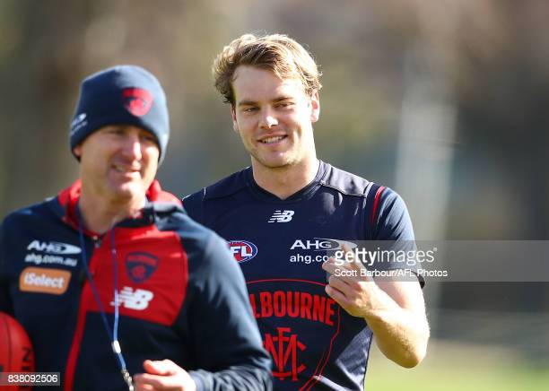 Jack Watts of the Demons smiles during a Melbourne Demons AFL training session at Gosch's Paddock on August 24 2017 in Melbourne Australia