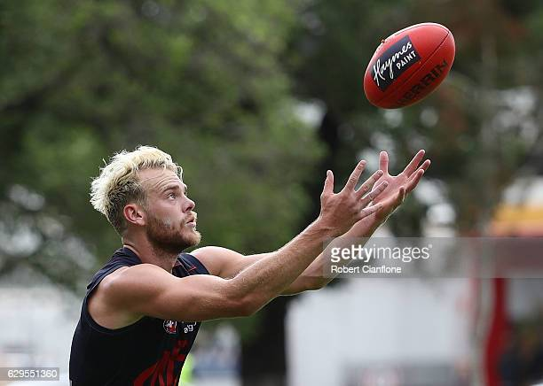 Jack Watts of the Demons takes the ball during a Melbourne Demons AFL training session at Gosch's Paddock on December 14 2016 in Melbourne Australia