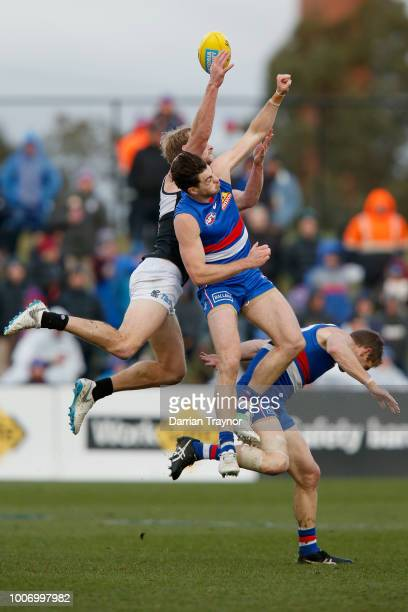 Jack Watts of the Power attempts to mark the ball during the round 19 AFL match between the Western Bulldogs and the Port Adelaide Power at Mars...