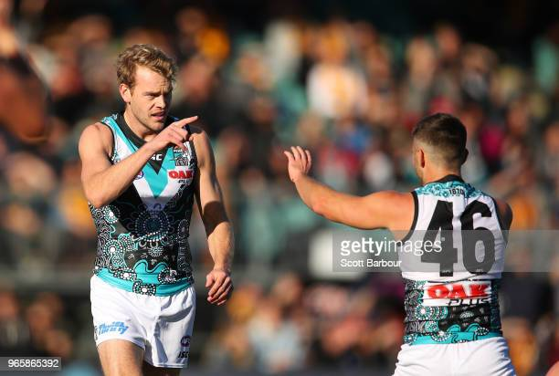 Jack Watts of the Power celebrates after kicking a goal during the round 11 AFL match between the Hawthorn Hawks and the Port Adelaide Power at...