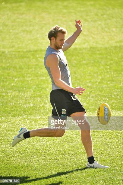 Jack Watts of the Power kicks for goal during a Port Power AFL training session at the Adelaide Oval on June 21 2018 in Adelaide Australia