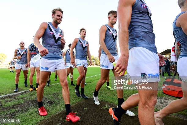 Jack Watts of the Power leaves the arena after the loss during the AFL 2018 JLT Community Series match between the West Coast Eagles and the Port...