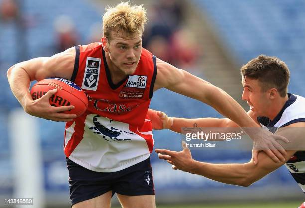 Jack Watts of the Scorpions in action during the round seven VFL match between the Geelong Cats and the Casey Scorpions at Simonds Stadium on May 5,...