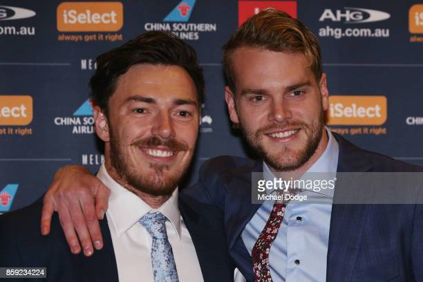 Jack Watts poses with Michael Hibberd at the Melbourne Demons Best Fairest at Crown Palladium on October 9 2017 in Melbourne Australia