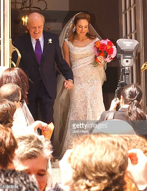 Jack Welch and his new wife Editor Suzy Wetlaufer photographed after their wedding at the Park Street Church in Boston April 24 2004