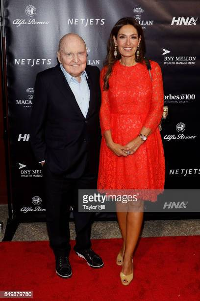 Jack Welch and Suzy Wetlaufer attend the Forbes Media Centennial Celebration at Pier 60 on September 19 2017 in New York City
