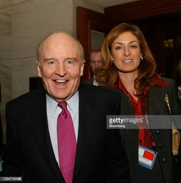 Jack Welch former chairman and chief executive officer of General Electric Co with his future wife Suzy Wetlaufer former editor of the Harvard...