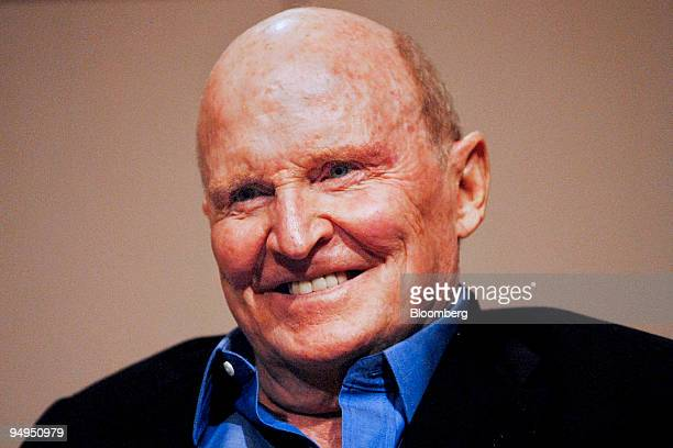Jack Welch former chairman of General Electric Co smiles during an interview at the Boston University School of Management in Boston Massachusetts US...