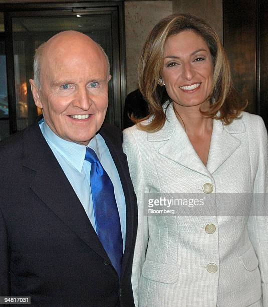 Jack Welch former chief executive of General Electric Co and author of the book Winning arrives with his wife Suzy for at a cocktail party Wednesday...