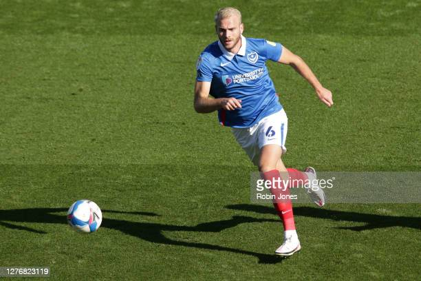 Jack Whatmough of Portsmouth FC during the Sky Bet League One match between Portsmouth and Wigan Athletic at Fratton Park on September 26, 2020 in...