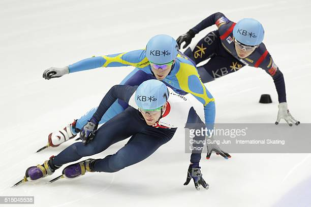 Jack Whelbourne of Great Britain Denis Nikisha of Kazakhstan and Park SeYeong of South Korea compete in the Men 1500m Semifinals during the ISU World...