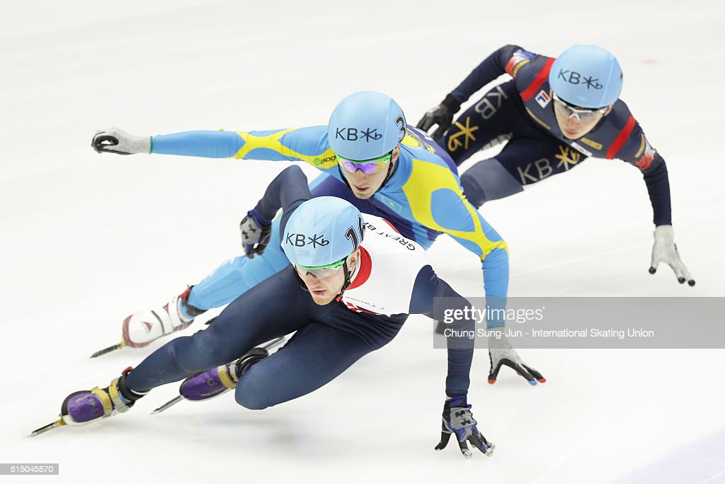 Jack Whelbourne of Great Britain, Denis Nikisha of Kazakhstan and Park Se-Yeong of South Korea compete in the Men 1500m Semifinals during the ISU World Short Track Speed Skating Championships 2016 at Mokdong Icerink on March 12, 2016 in Seoul, South Korea.