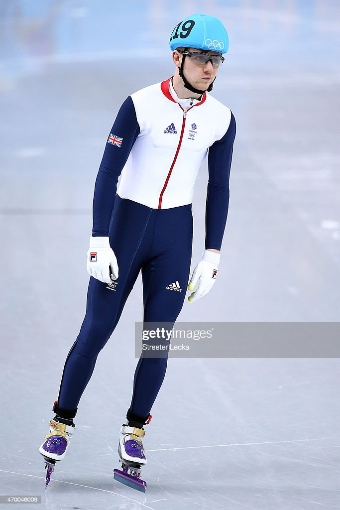 Jack Whelbourne of Great Britain reacts after competing in the Short Track Men's 500m Heat at Iceberg Skating Palace on day 11 of the 2014 Sochi Winter Olympics on February 18, 2014 in Sochi, Russia.