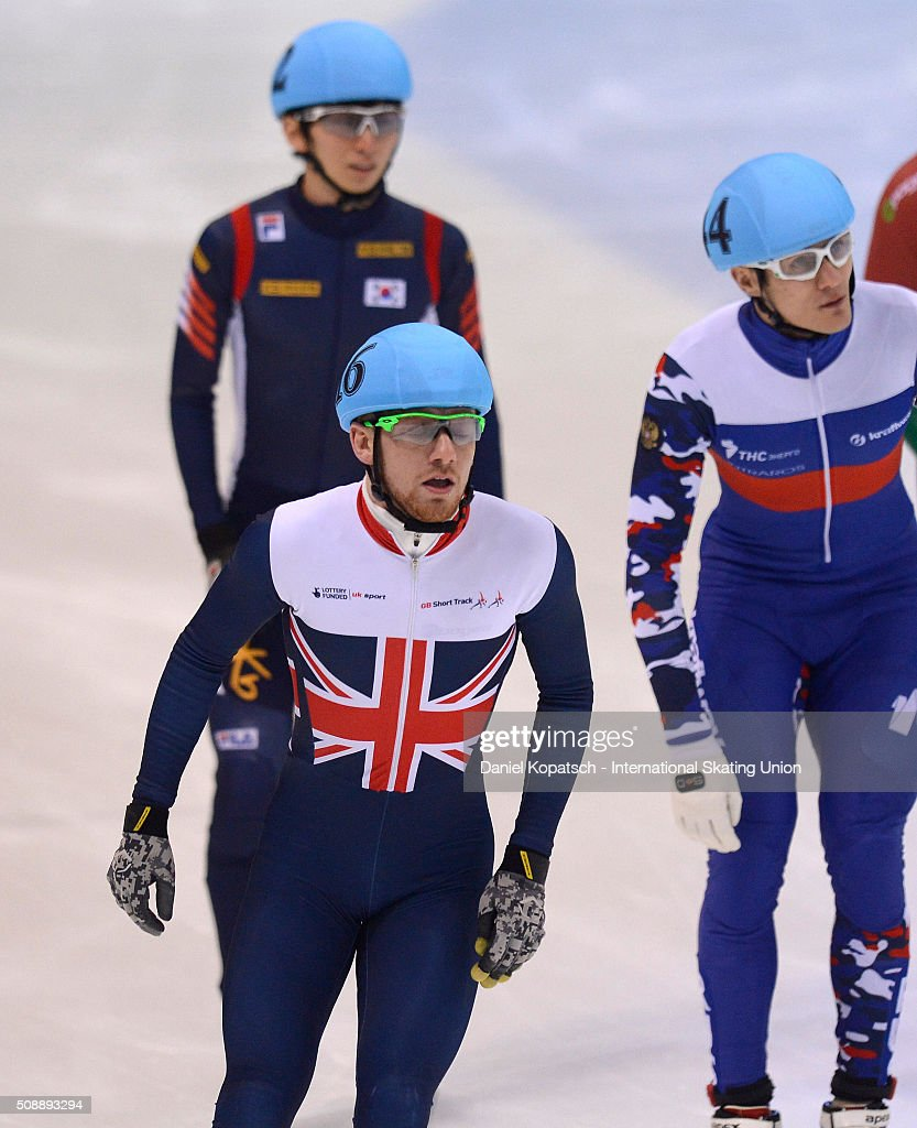 Jack Whelbourne of Great Britain reacts after the Men 500 M Quarterfinal during day two of the ISU World Cup Short Track Speed Skating at EnergieVerbund Arena on February 7, 2016 in Dresden, Germany.