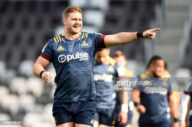 Jack Whetton of the Highlanders looks on during the round 10 Super Rugby Aotearoa match between the Highlanders and the Hurricanes at Forsyth Barr...
