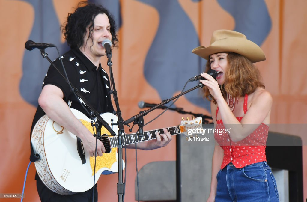 Jack White (L) and Esther Rose perform onstage during Day 7 of the 2018 New Orleans Jazz & Heritage Festival at Fair Grounds Race Course on May 6, 2018 in New Orleans, Louisiana.