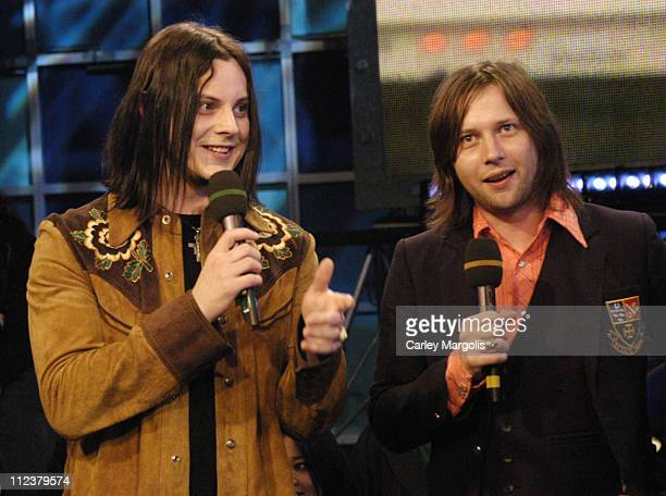Jack White and Patrick Keeler of The Raconteurs during The Raconteurs Avenged Sevenfold and Bo Bice Visit Fuse's 'Daily Download' April 4 2006 at...