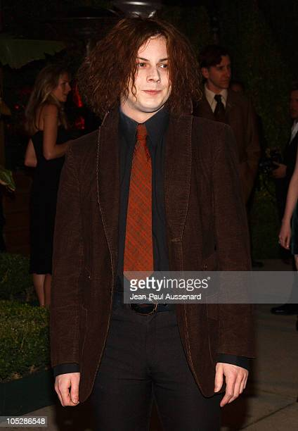 Jack White during 2004 Vanity Fair Oscar Party Arrivals at Mortons in Beverly Hills California United States