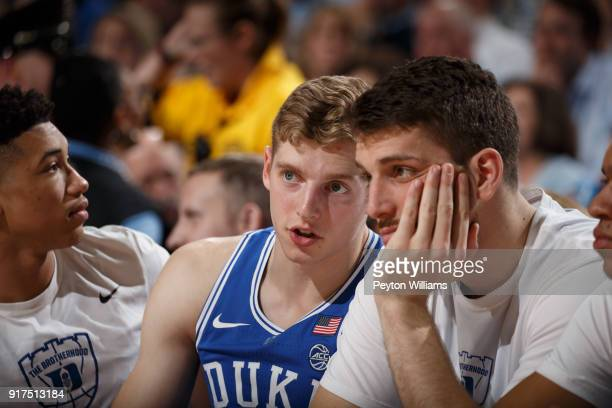 Jack White of the Duke Blue Devils talks to teammate Antonio Vrankovic during a game against the North Carolina Tar Heels on February 08 2018 at the...