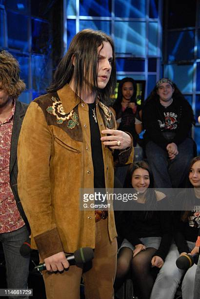 Jack White of The Raconteurs during Bo Bice Raconteurs and Avenged Sevenfold Visit FUSE's 'Daily Download' April 4 2006 at FUSE Studios in New York...