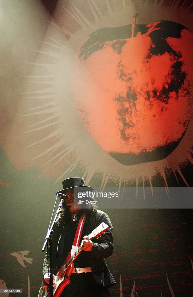 Jack White of the White Stripes performs on the Pyramid Stage during the first day of the Glastonbury Music Festival held at Worthy Farm on June 24, 2005 in Glastonbury, England.