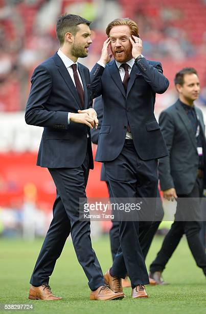 Jack Whitehall and Damian Lewis attend Soccer Aid 2016 at Old Trafford on June 5 2016 in Manchester United Kingdom