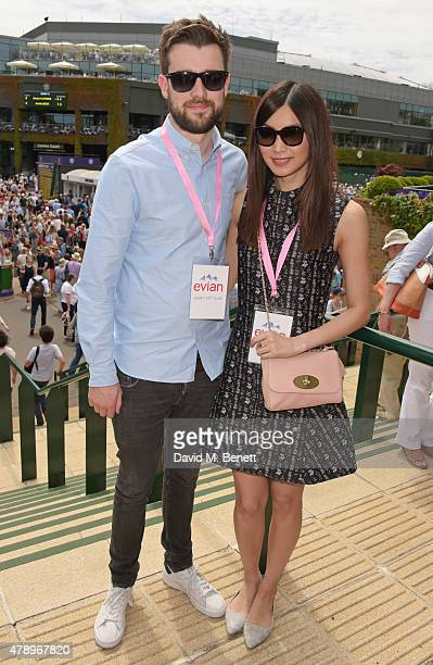 Jack Whitehall and Gemma Chan attend the evian Live Young suite on the opening day of Wimbledon at the All England Lawn Tennis and Croquet Club on...