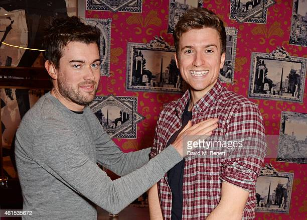 Jack Whitehall and Greg James attend a drinks reception ahead of a special screening of 'Whiplash' at The Soho Hotel on January 14 2015 in London...