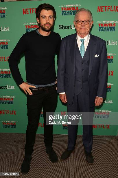 Jack Whitehall and Michael Whitehall attend a photocall for 'Jack Whitehall Travels with My Father' at Charlotte Street Hotel on September 19 2017 in...