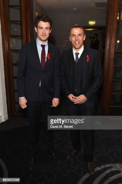 Jack Whitehall and Phil Neville attend the World Aids Day Charity Gala aimed at using football to educate and inspire vulnerable young people in...