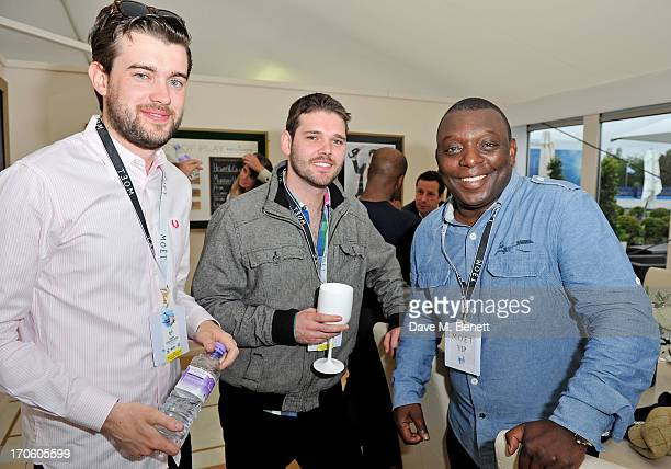 Jack Whitehall Ben McGregor and Garth Crooks attend The Moet Chandon Suite at The Aegon Championships Queens Club SemiFinals on June 15 2013 in...